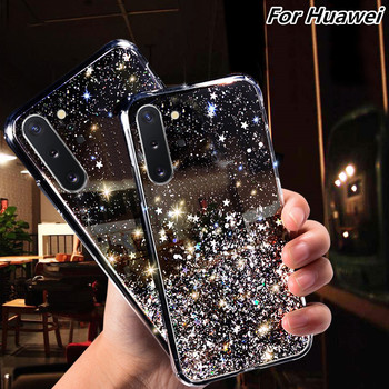 Soft Transparent TPU Phone Case For Huawei Mate 30 20 10 Pro P30 P20 Lite Honor 10i 20i 10 8C 8X 9X Pro P Smart 2019 Bling Cover image