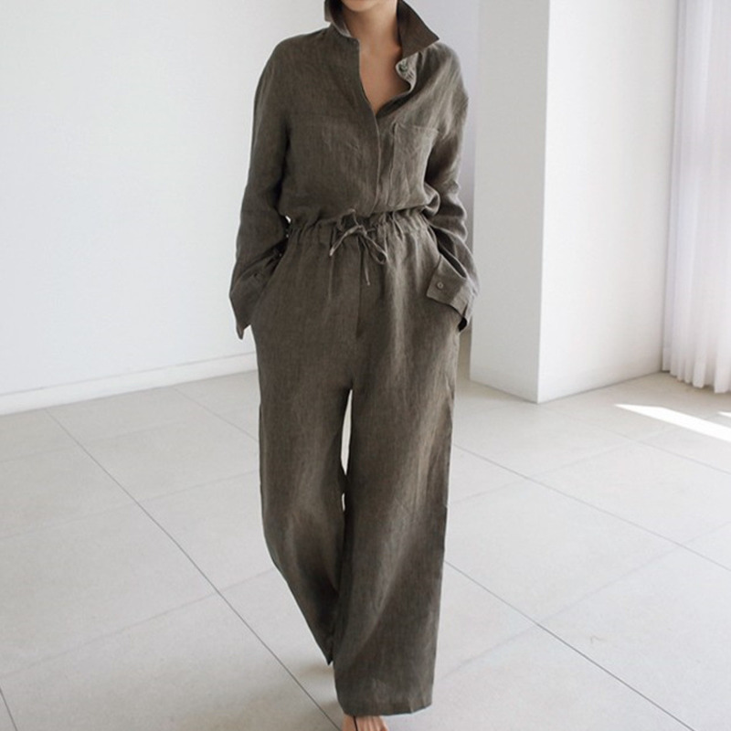 LANMREM 2020 Spring New Casual Fashion Temperament Women Loose Solid Color Long-sleeved Drawstring Belt Jumpsuit TC649