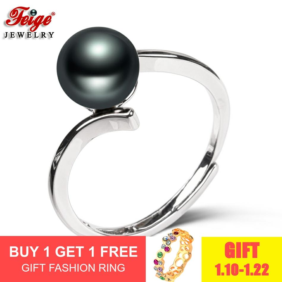 New Fashion Design Pearl Ring For Women's Party Gift Three Colors 8-9MM Natural Freshwater Pearl Rings Fine Jewelry Wholesale