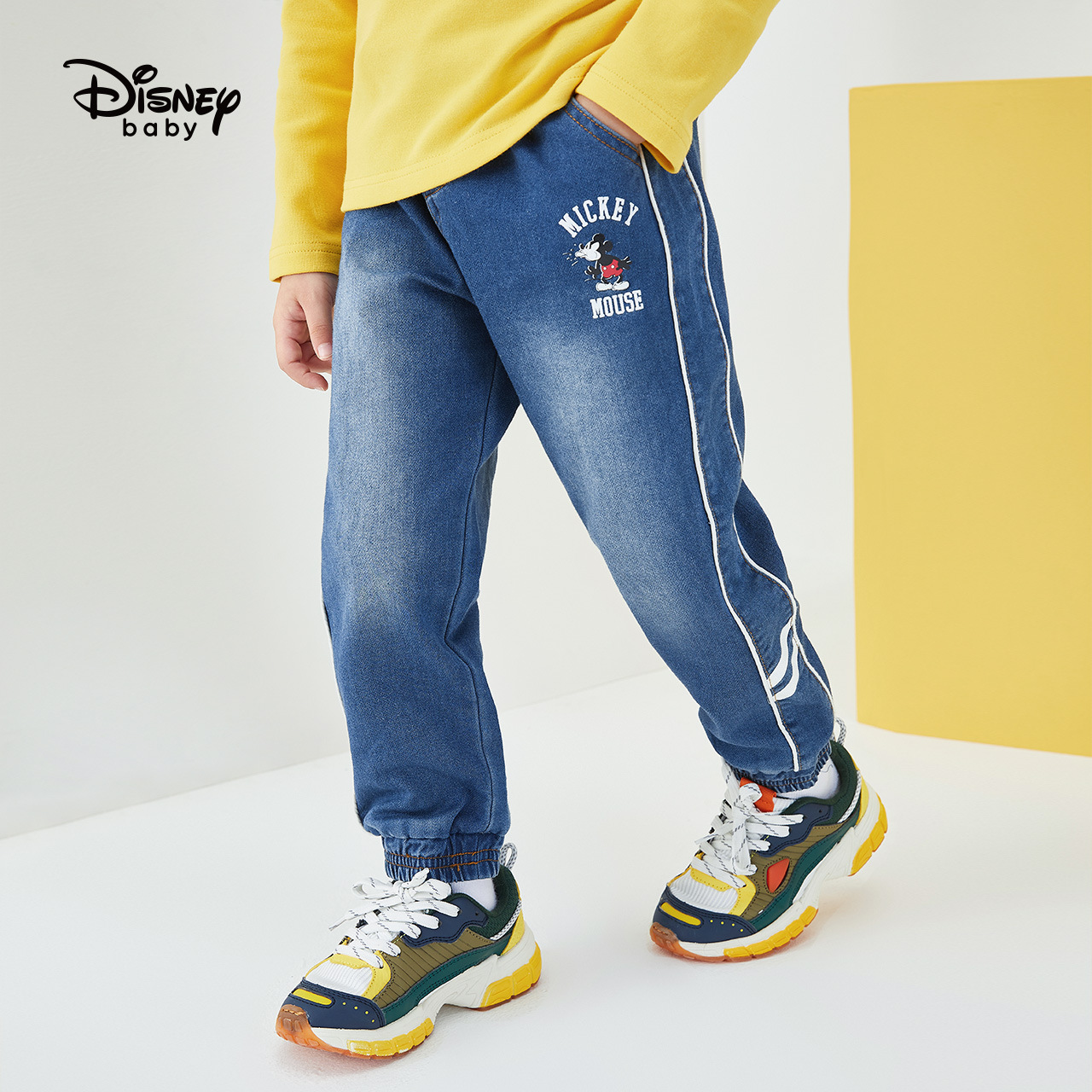 Disney Boy Jeans Spring And Autumn New Children's Casual Pants Fashion Cartoon Mickey Pants DB031ME19
