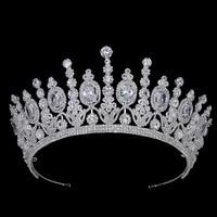 Hadiyana новая классическая свадебная корона 2018 Роскошная эллиптическая циркониевая Свадебная вечеринка большая корона для женщин BC4053