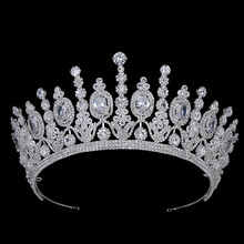 Hadiyana New Bridal Classical Couronne De Mariage Crowns 2018 Luxury Elliptical Zircon Wedding Party Big Crown For Women BC4053(China)
