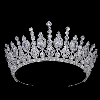 Hadiyana New Bridal Classical Couronne De Mariage Crowns 2018 Luxury Elliptical Zircon Wedding Party Big Crown For Women BC4053