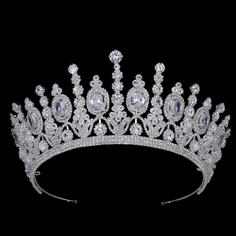 Hadiyana New Bridal Classical Couronne De Mariage Crowns Luxury Elliptical Zircon Wedding Party Big Crown For Women BC4053