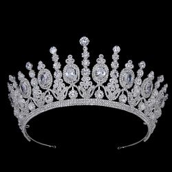 Hadiyana New Bridal Classical Couronne De Mariage Crowns Luxury Elliptical Zircon Wedding Party Big Crown For Women BC4053