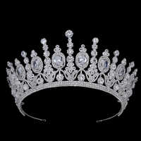 Hadiyana nouveau mariée classique Couronne De Mariage couronnes 2018 luxe elliptique Zircon fête De Mariage grande Couronne pour les femmes BC4053