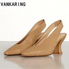 Марка дизайн женщины Гладиатор тапочки кожаные туфли-лодочки с острым носом стильные туфли на высоких каблуках Пип-пальцы сексуальный вечернее женщины