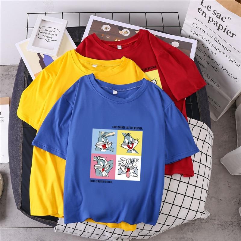 11 Colors S-3XL Big Size Ladies Cartoon Rabbit Bunny Printed Harajuku Tshirt Women Short Sleeve Ulzzang White T-Shirt Female