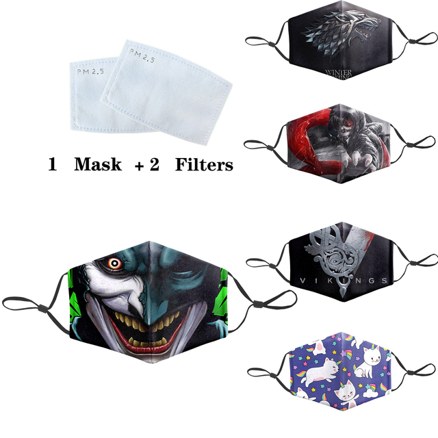 Reusable Protective PM2.5 Filter Mask Joker Dragon Ball Print Anti Dust Face Mouth Mask Bacteria Proof Flu Masks Mouth-Muffle