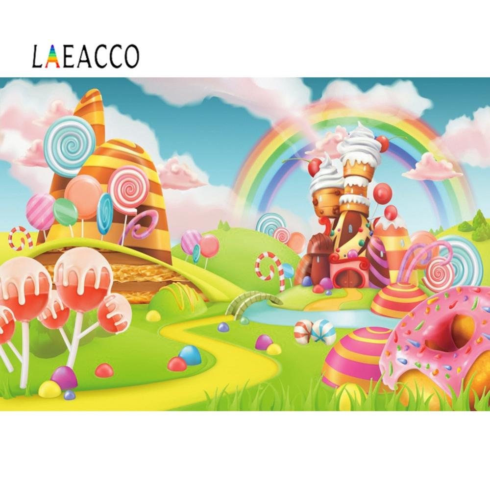 Laeacco Candy Land Photography Lollipop Rainbow Backdrop Castle Photographic Backgrounds Baby Shower Happy Birthday Photo Studio