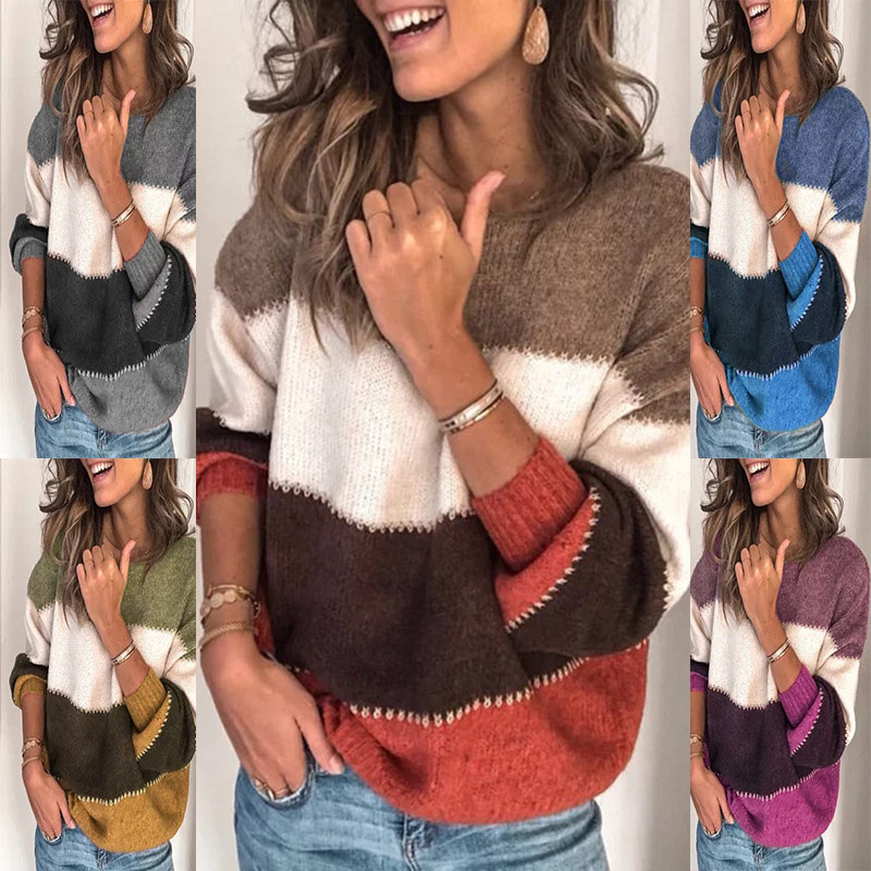 Women's Contrast Color Patchwork Sweaters Knitted Warm Loose Autumn O-Neck Female Pullover Ladies Top Sueter Mujer Invierno 2019