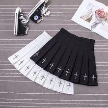 Falda gótica cruzada negra para mujer, faldas Vintage Punk de estilo Harajuju, Mini Falda plisada de Lolita Y2k, de cintura alta de estilo Hip Hop, color negro Grunge