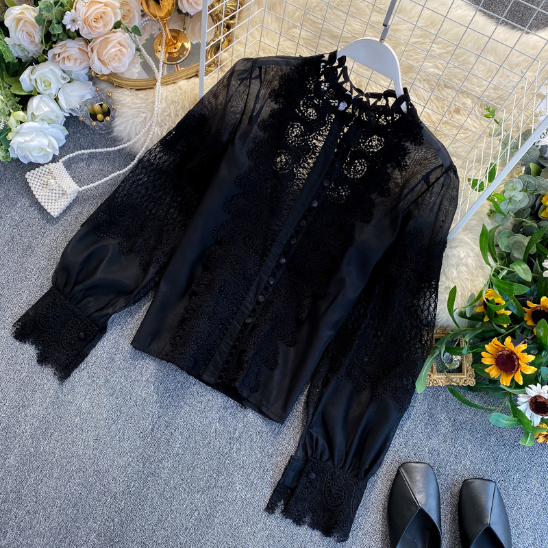 White Black Long Lantern Sleeve Lace Hollow Out Stand Collar Blouse Shirt 3