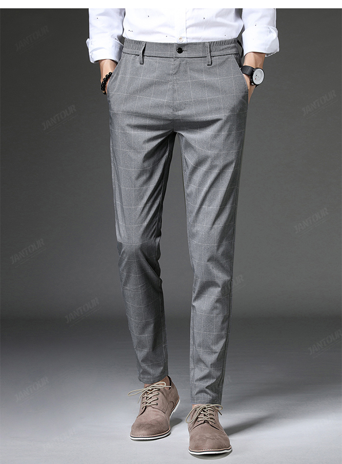 Jantour 2020 Spring New Casual Pants Men Slim Fit Plaid Fashion Gray black Trousers Male Brand Clothing business work pant 28-38 57