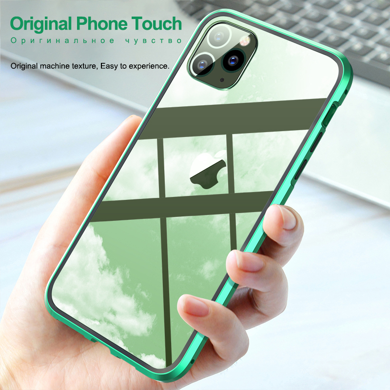 Double Sided Glass Magnetic Adsorption Phone Case For iPhone 11 Pro X XS MAX XR and iPhone 6 6s 8 7 Plus 4