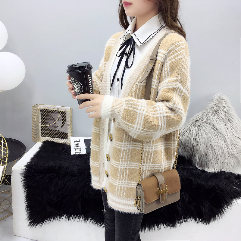 Women Winter Cardigan Sweater Knitted Korean version knitted jacket 2019 hippocampus Wool Plaid long section autumn Wear Loose 1