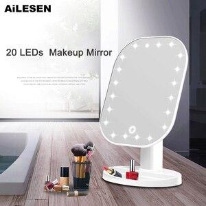 AiLESEN LED lustro z ekranem dotykowym lustro do makijażu luksusowe z 20 diodami LED 180 stopni regulowany stół lustro do makijażu