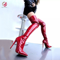 Original Intention Fashion Red Over Knee High Boots Woman Patent Leather Pointed Toe Thin High Heels Shoes Woman Mature Sexy
