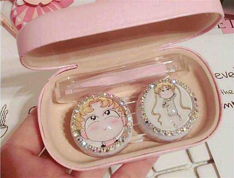 Аниме Сейлор Мун розовый корпус контактных линз набор пинцетов коробка держатель Контейнер для женщин девочек симпатичный с кристаллами коробки косплей реквизит подарок