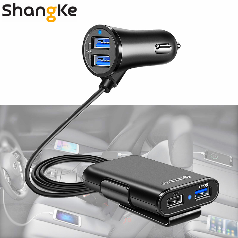 USB Car Charger 4 Ports QC3.0+2.4A+3.1A USB Car Charger Universal USB Fast Adapter With 5.6ft Extension Cord Cable For Car Phone