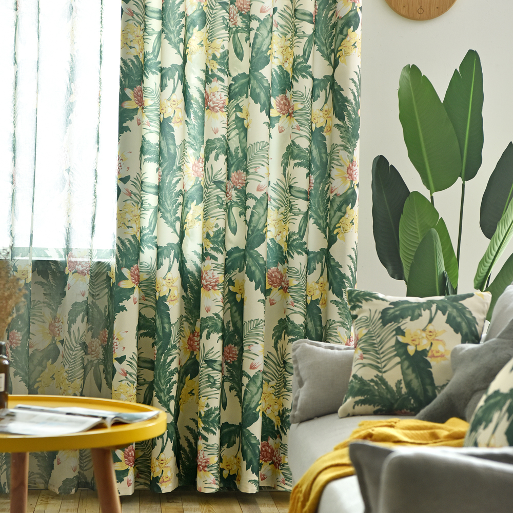 Modern Pattern Tropical Printed Curtains Green Leaves For Living Room Rainforest Tulle Window Drape Blackout Rate 85% 420&30