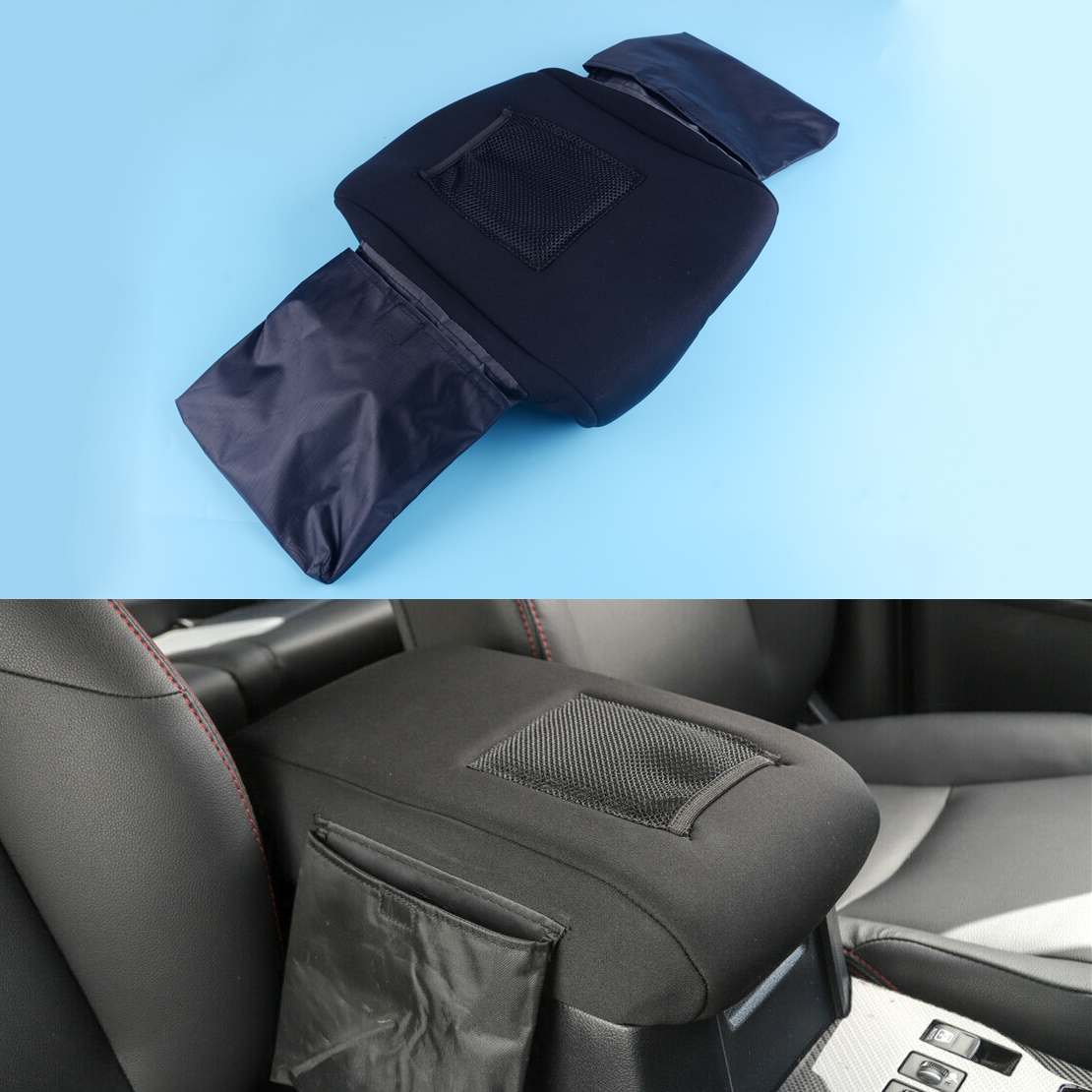 DWCX Black Neoprene Center Console Armrest Lid Cushion Cover w/ 2 Stroage Bag Pocket fit for <font><b>Toyota</b></font> <font><b>4Runner</b></font> 2017 <font><b>2018</b></font> 2019 2020 image