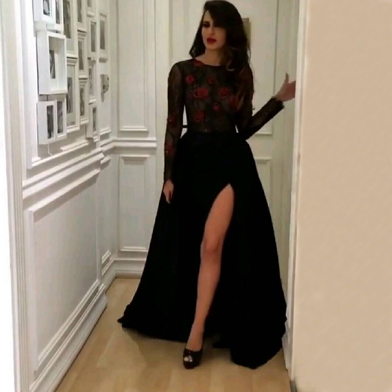 Real 2018 Arabic Sexy Black Evening Gown Thigh High Slits Illusion Long Sleeves Lace Formal Wear Mother Of The Bride Dresses