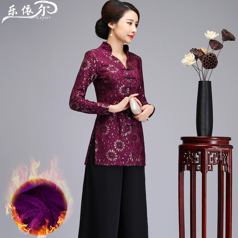 Chinese Costume Set Women's Improved Lace Ethnic-Style Plus Velvet Cheongsam Tops Mid-length Middle-aged Women Dress Wedding Ban