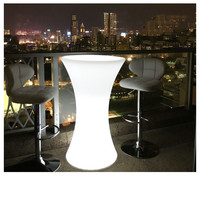 Out door use LED lighted bar cocktail table Rechargeable bar plastic table 110CMX45cm Commercial Furniture