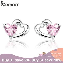 BAMOER 925 Sterling Silver Double Heart to Heart Pink CZ Stud Earrings for Women Brincos Fine Jewelry Bijoux SCE090(China)