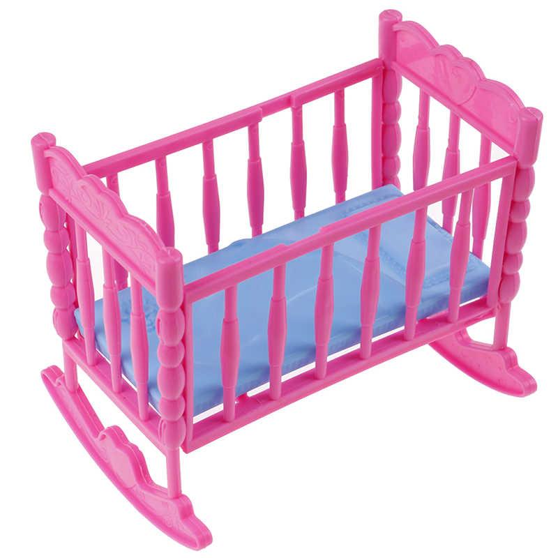 12.5*9*10.5cm Mini maison de poupées enfants jouet chérie poupée meubles pour berceau à bascule lit pour poupée accessoires jouets pour enfants