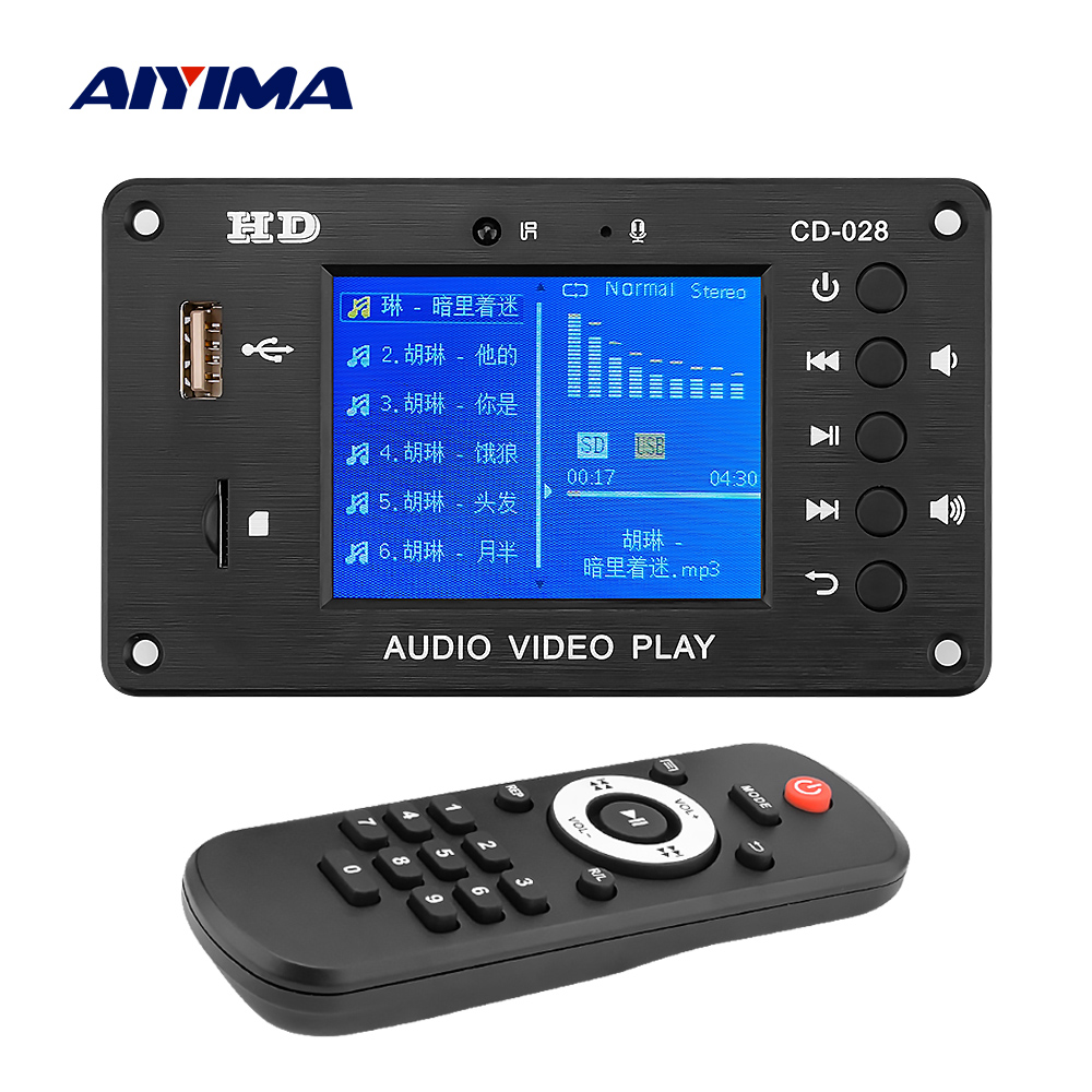 AIYIMA Bluetooth 5.0 MP3 Decoder Player AUX USB TF Card FM Radio Decoding Module DIY Sound Amplifier Speaker Home Theater