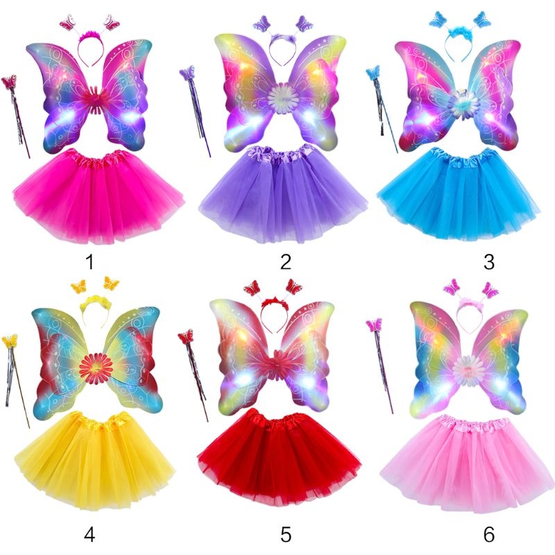 4Pcs Girls LED Fairy Costume Set Tulle Tutu Skirt Double Layer Butterfly Wings Wand Headband Princess Performance Stage Dress Up