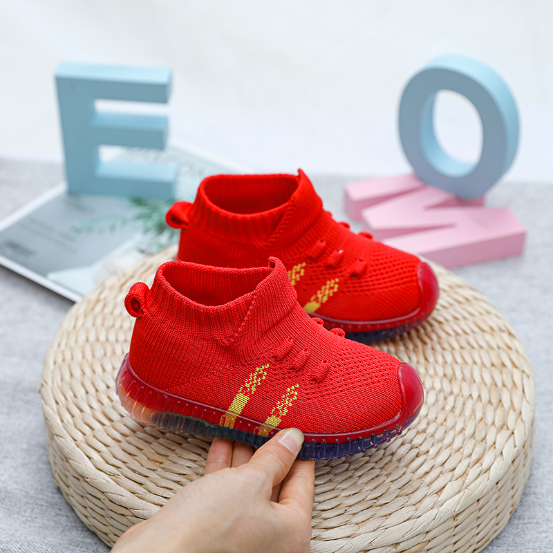 Flying woven baby shoes for men and women, baby first shoes, baby first walker, soft crystal soles, non-slip knitted socks shoes
