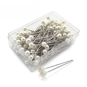 100pcs/box 36mm Round Pearl Head Dressmaking Pins Weddings Corsage Florists Sewing Pin Mixed Color Accessories GYH