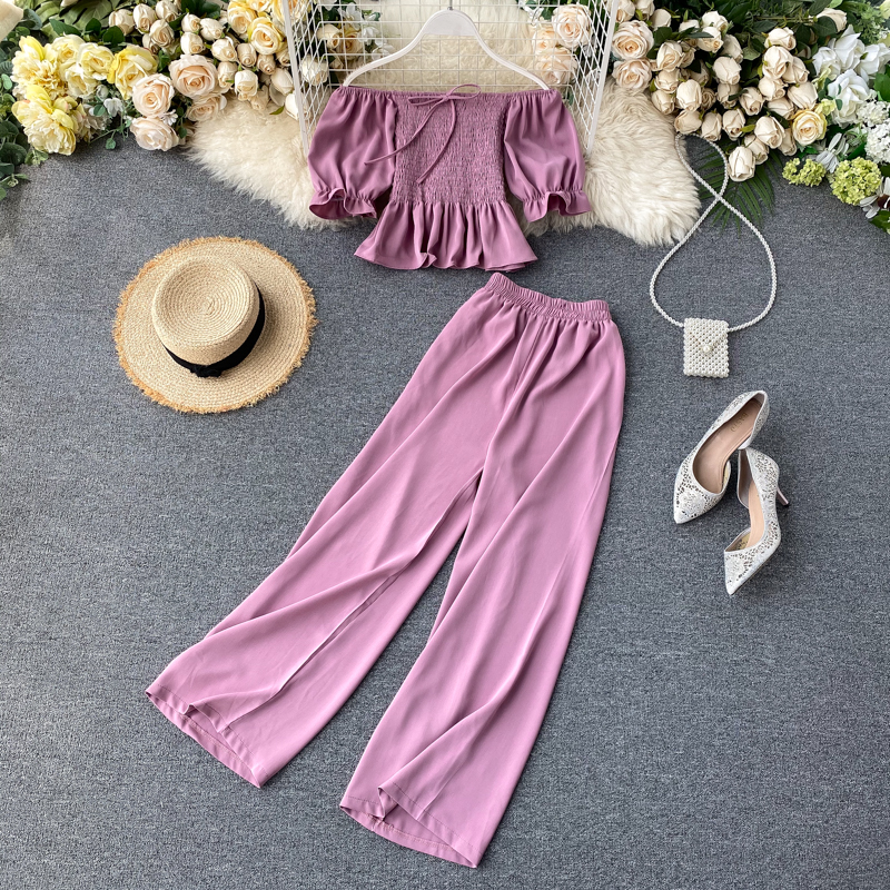 2020 New Female Foreign Gas Bubble Sleeve Top Short Section High Waist Was Thin Wide Leg Pants Two-piece Suit