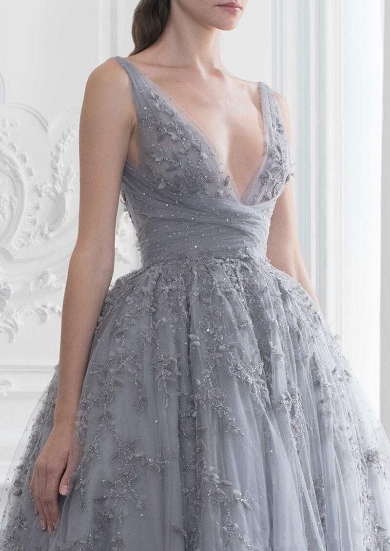 Купить женское вечернее платье до щиколотки серое элегантное винтажное