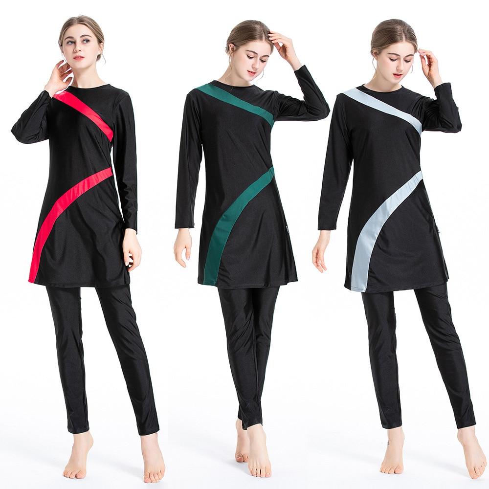 Muslim Conservative Swimsuit Hui Middle East Three-piece Sportswear Suit Swim Suit Women Swimwear 3 Pieces Bikini Set Modest