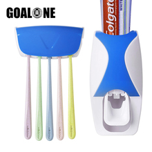 2Pcs Toothbrush Holder Set Bathroom Accessories Wall Mounted Automatic Toothpaste Dispenser Squeezer Home Decoration