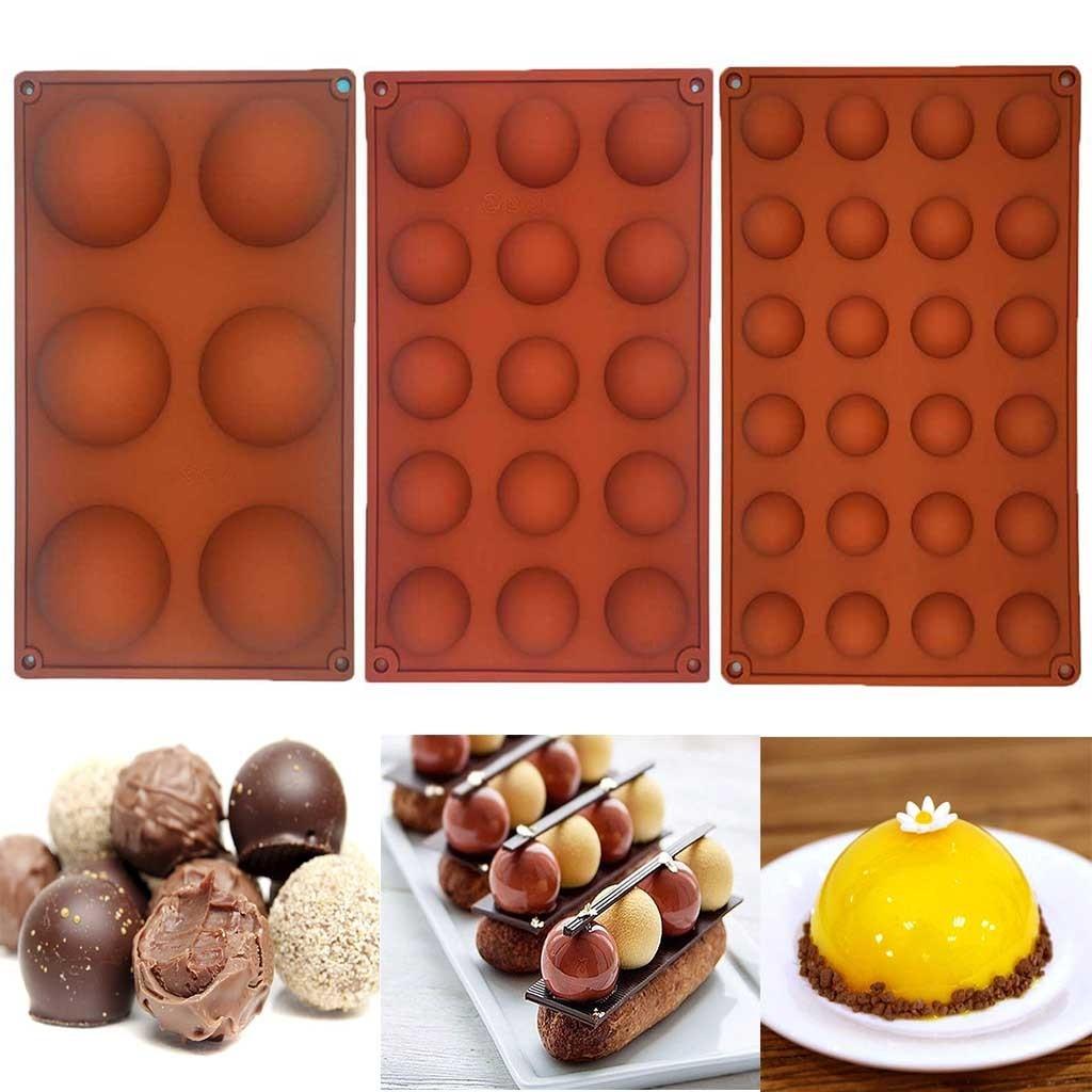 3 шт., розничная продажа шар Сфера силиконовая форма для шоколада выпечки круглая форма для выпечки оборудование для выпечки для желе для мы...