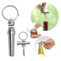 IdYllife Edelstahl zink-legierung Wein Öffner Multi 3in1 Flasche Dosenöffner set Küche Werkzeug Geschirr Holz Korkenzieher Keychain Mini