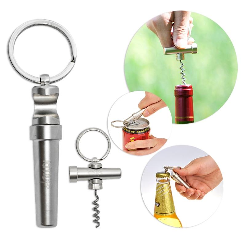 IdYllife Stainless Zinc Alloy Wine Opener Multi 3in1 Bottle Can Opener Set Kitchen Tool Dinnerware Wood Corkscrew Keychain Mini