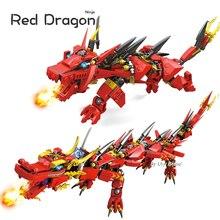Ninja Series Kais Flying Red Ninja Dragon Fighting Mech Set 2in1 Set Figures Educational Building Blocks Toys For Children Gift