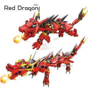 Image 1 - Ninja Series Kais Flying Red Ninja Dragon Fighting Mech Set 2in1 Set Figures Educational Building Blocks Toys For Children Gift