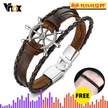 Vnox Vintage Rudder Charm Bracelet for Men Multi-layer Leather Rope Bracelets Bangles 7.87