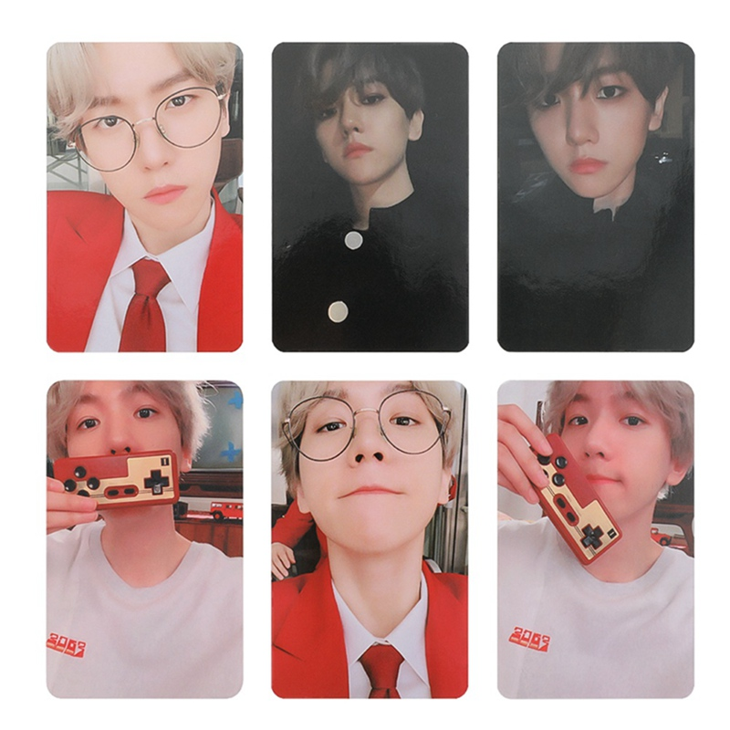 KPOP EXO BAEKHYUN SOLO City Lights Album LOMO Cards K-POP New Fashion Self Made Paper Photo Card  Photocard 6Pcs/Set