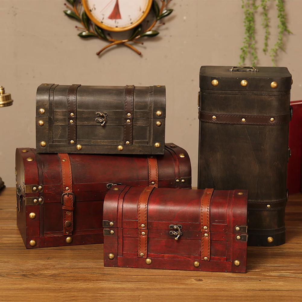 European Retro Wooden Box Red Leather Vintage Treasure Chest Jewelry Storage Box Photography Shooting Props Home Decoration