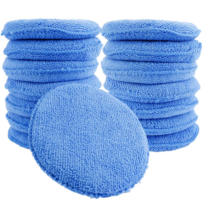 Hot 12cm Round Soft Microfiber Car Wax Applicator Pad Polishing Sponge for apply and remove wax Auto Care|Sponges  Cloths & Brushes| |  - title=