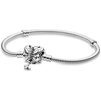 Fit Pandora Beads Jewelry Moments Butterfly Clasp Snake Chain Bracelet for Women In Sterling Silver with Clear Cubic Zirconia