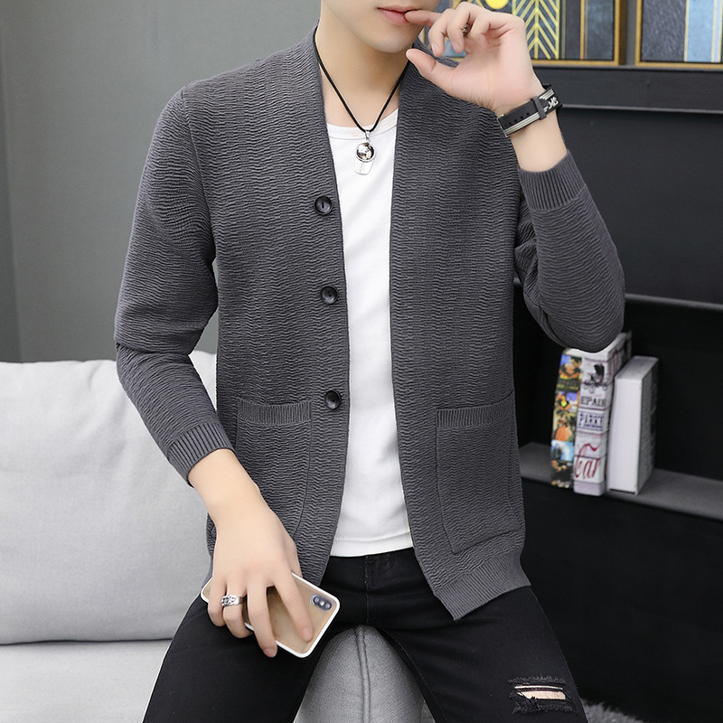 2019 Autumn Cardigan Sweater Outside A Man Wear V-neck Sweater Youth Handsome Fashion Sweater